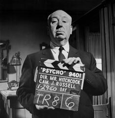 Alfred Hitchcock auf dem Set von Psycho