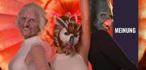 Drei Frauen saßen für Sexy Beasts auf Netflix stundenlang in der Maske – um anschließend um einen Mann im Wolfskostüm zu buhlen.