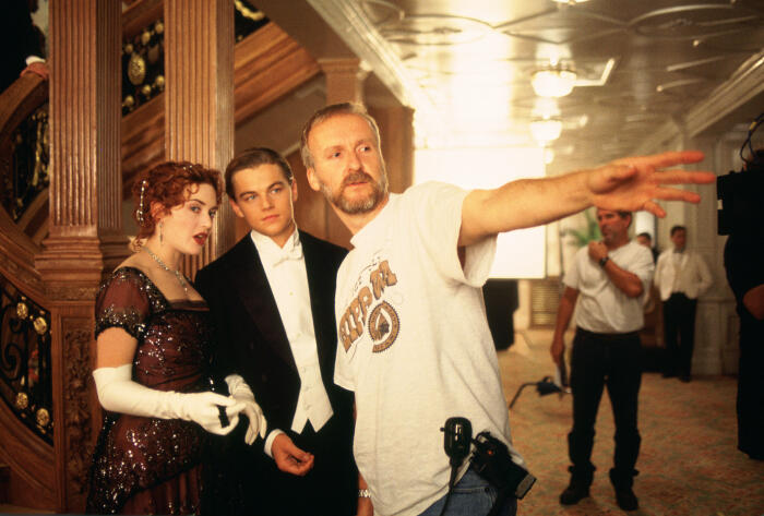 Titanic mit Leonardo DiCaprio, Kate Winslet und James Cameron