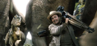 CGI-Dinosaurier und Jack Black in King Kong