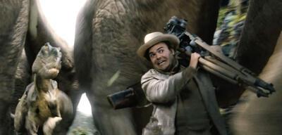 CGI-Dinosaurier und Jack Black in King Kong