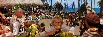 Schönste Technicolor-Farbpracht: Die Crew der Bounty auf Haiti.