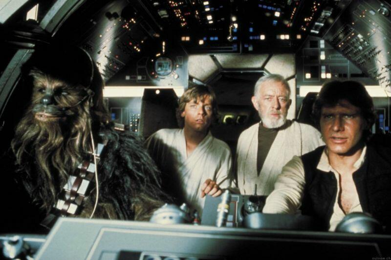Krieg der Sterne mit Harrison Ford, Mark Hamill und Alec Guinness
