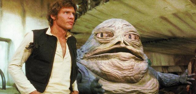 Han Solo und Jabba the Hutt in Krieg der Sterne