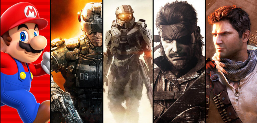 Super Mario, Call of Duty, Halo, Metal Gear Solid, Uncharted