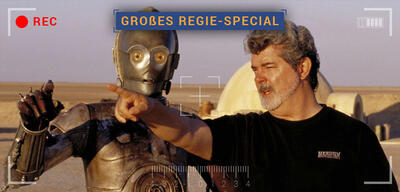 Am Star Wars-Set: C3-PO und George Lucas