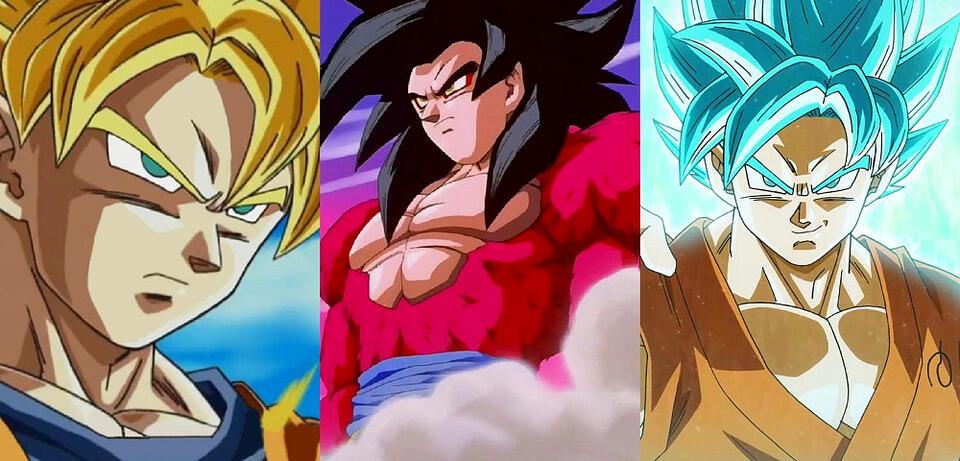 Son-Goku in verschiedenen Transformationen
