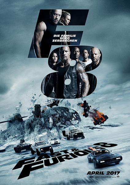 Fast & Furious 8 mit Jason Statham, Dwayne Johnson, Vin Diesel, Charlize Theron, Michelle Rodriguez, Tyrese Gibson und Chris 'Ludacris' Bridges