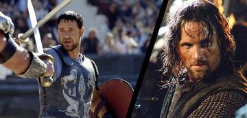 Russell Crowe in Gladiator, rechts Viggo Mortensen als Aragorn