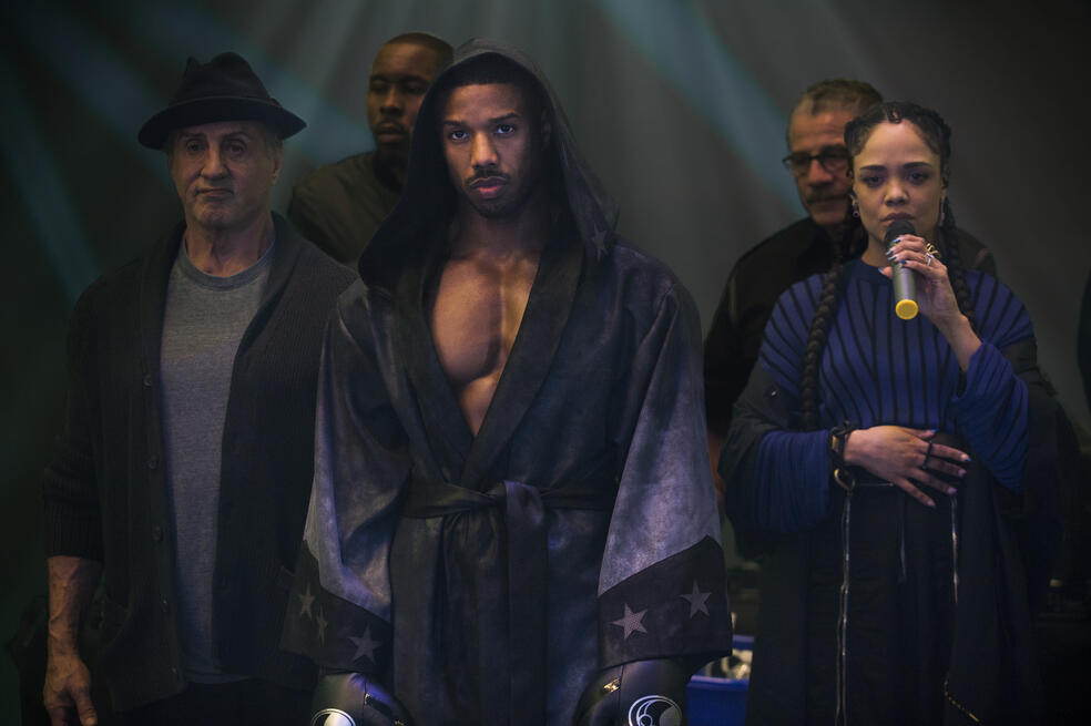 Creed II mit Sylvester Stallone, Michael B. Jordan und Tessa Thompson