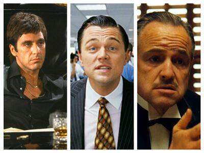 Tony Montana ( Al Pacino ), Jordan Belfort ( Leo DiCaprio ), Don Vito Corleone ( Marlon Brando )