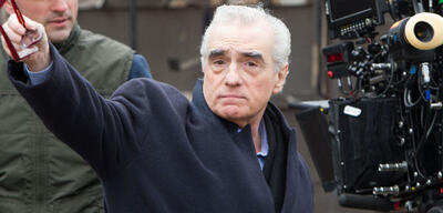 Martin Scorsese am Set von Hugo Cabret