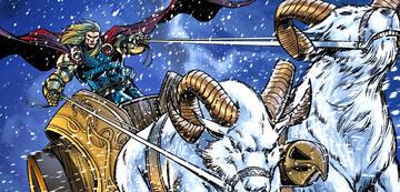 Thor mit seinen Zugböcken in der Comic-Vorlage