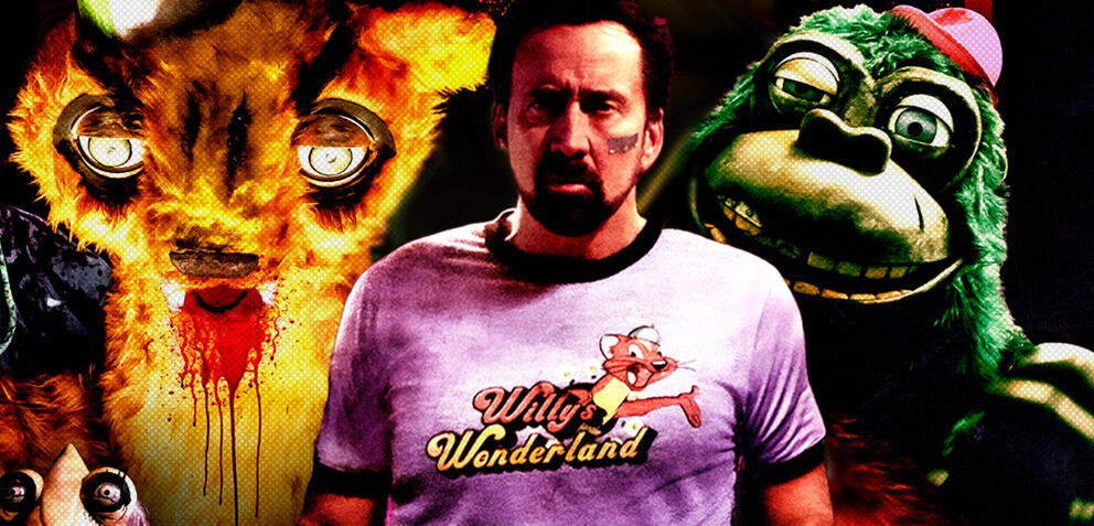 Nicolas Cage und seine Co-Stars in Willy's Wonderland