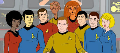 Die Crew der animierten Enterprise