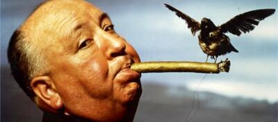 Alfred Hitchcock beim Dreh von Die Vögel.