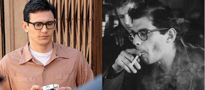 James Franco (l) spielt Allen Ginsberg (r)