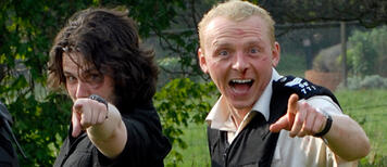 Edgar Wright und Simon Pegg am Set von Hot Fuzz