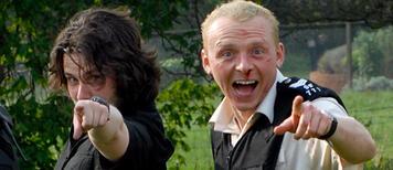 Edgar Wright und Simon Pegg am Set von Hot Fuzz