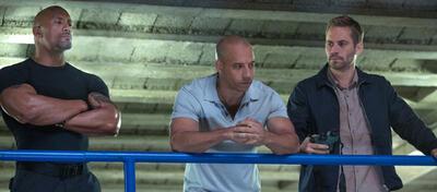 Dwayne Johnson, Vin Diesel und Paul Walker in Fast & Furious 6