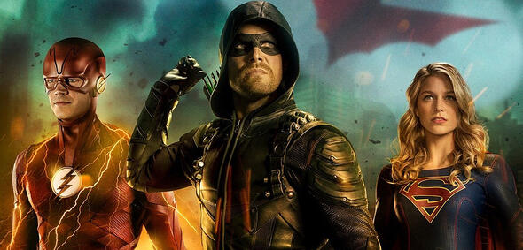 Barry, Oliver und Kara im Arrowverse-Crossover
