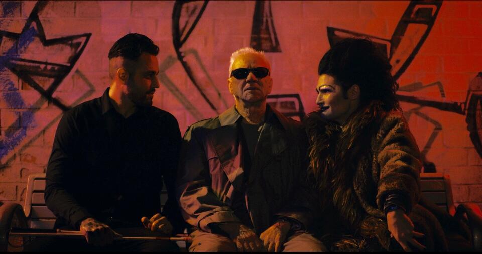 Corbin Nash mit Malcolm McDowell und Corey Feldman