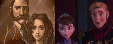 Links: Tarzans Eltern. Rechts: Annas und Elsas Eltern.
