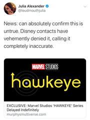 Hawkeye-Tweet von Julia Alexander
