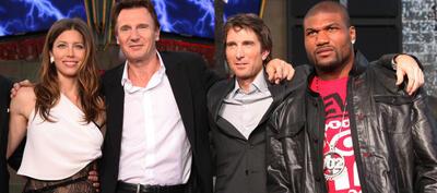 Jessica Biel, Liam Neesen, Sharlto Copley und Quinton 'Rampage' Jackson in Berlin