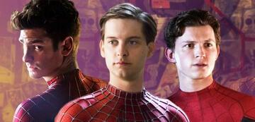Andrew Garfield, Tobey Maguire und Tom Holland im Kostüm