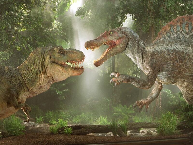 T-Rex vs Spinosaurus (Jurassic Park III) (© Universal)