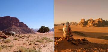 Das Wadi Rum ohne und mit Mars-Filter