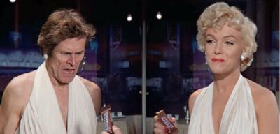Willem Dafoe und Marilyn Monroe in einer Snickers-Werbung