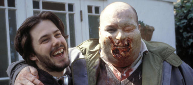 Edgar Wright am Set von Shaun of the Dead