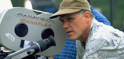 Joe Johnston am Set von Jurassic Park III