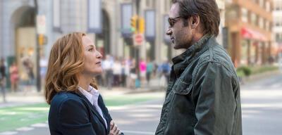 Ach, auch einer Verschwörung auf der Spur? Scully und Mulder beim Zwiegespräch