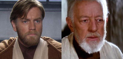 Ewan McGregor & Alec Guinness als Obi-Wan Kenobi