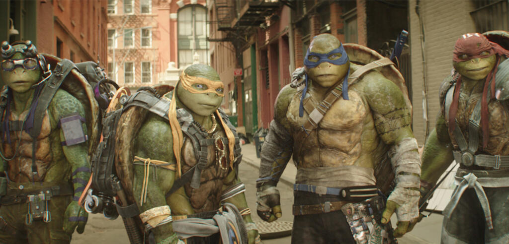 Vier mutierte Riesenschildkröten in Teenage Mutant Ninja Turtles 2