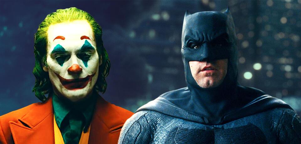 Joaquin Phoenix in Joker und Ben Affleck als Batman in Justice League