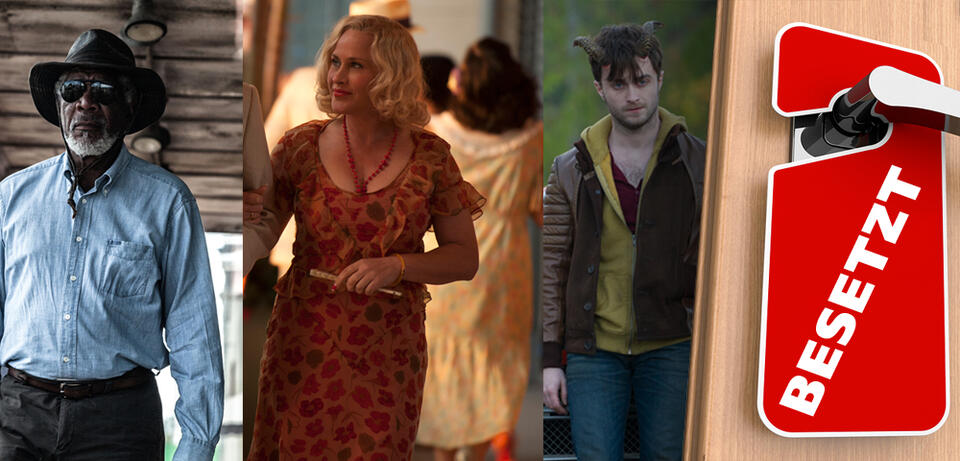 Morgan Freeman in Transcendence / Patricia Arquette in Boardwalk Empire / Daniel Radcliffe in Horns