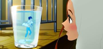 Hinako sieht Minato in einem Wasserglas