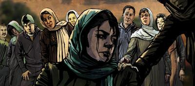 Eine trauernde Mutter auf den Straßen Teherans.