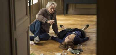 Paul Verhoeven mit Isabelle Huppert auf dem Set von Elle