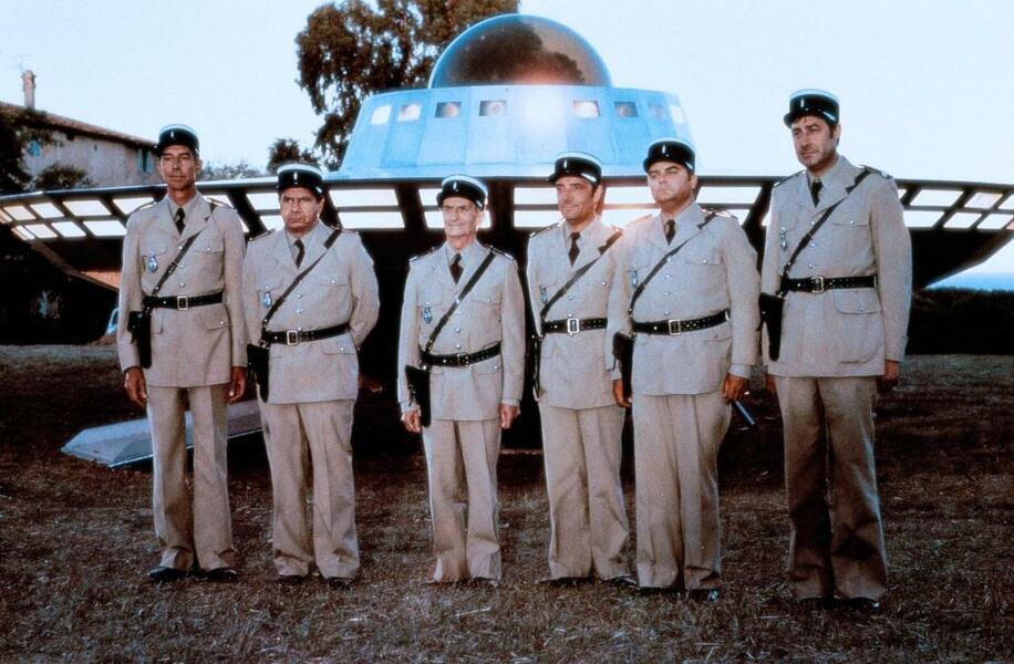 Louis unheimliche Begegnung mit den Außerirdischen mit Louis de Funès, Michel Galabru, Michel Modo, Guy Grosso, Jean-Pierre Rambal und Maurice Risch