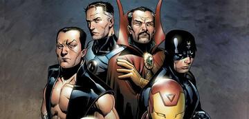 Ein Teil von Marvels Illuminati: Namor, Mr. Fantastic, Doctor Strange, Black Bolt und Iron Man.