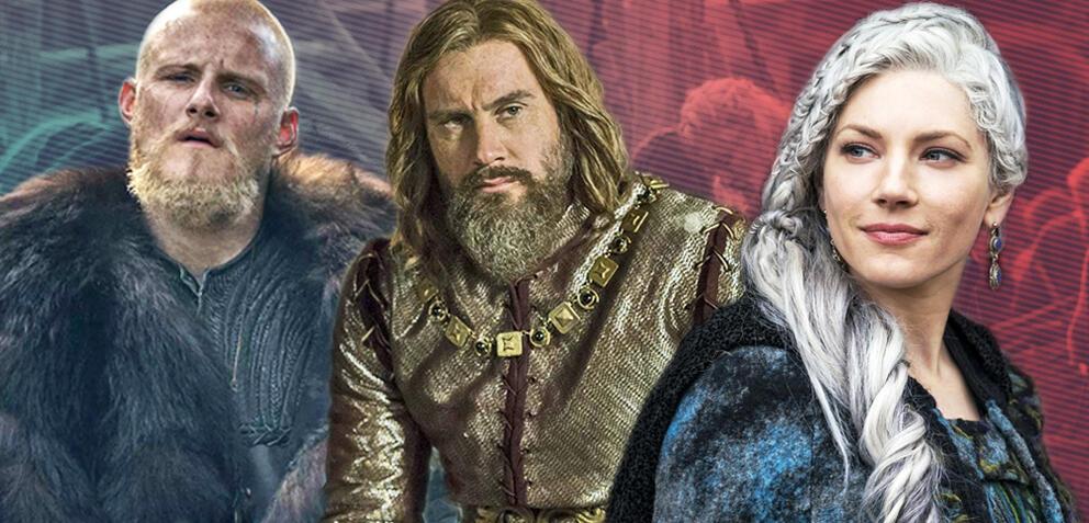 Björn, Rollo und Lagertha aus Vikings