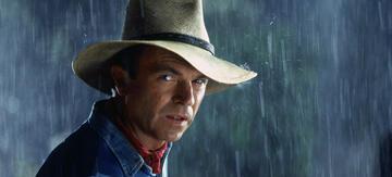 Sam Neill mit Hut in Jurassic Park