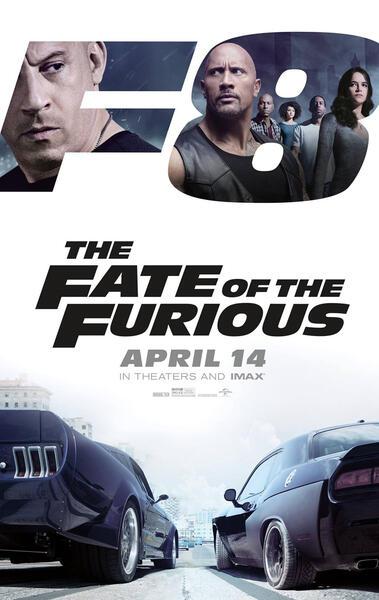 Fast & Furious 8 mit Dwayne Johnson, Vin Diesel, Michelle Rodriguez, Tyrese Gibson, Chris 'Ludacris' Bridges und Nathalie Emmanuel