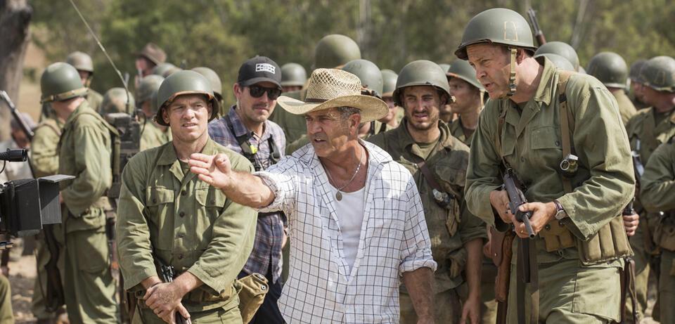 Mel Gibson am Set von Hacksaw Ridge