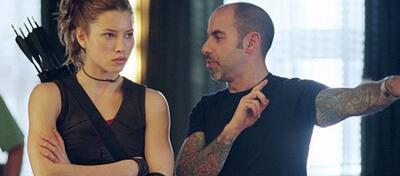 Jessica Biel und David S. Goyer am Set von Blade: Trinity
